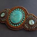 Tibeti türkiz -gyöngy hímzett  hajcsat, Igazi, eredeti tibeti türkiz féldrágakővel ké...