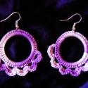 Lila horgolt fülbevaló, Ékszer, Fülbevaló, Karikára horgoltam ezt a melírozott lila fonalból készült fülbevalót, majd keményítő spray..., Meska