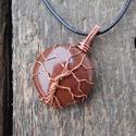 Mokait életfa medál vörösrézzel+ajándék, Ékszer, óra, Medál, Csupasz, kezeletlen vörösrézből és egy szép barna, kör alakú mokaitból készítettem ezt a ..., Meska