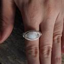 Szivárvány holdkő gyűrű, Ékszer, Gyűrű, 19-20 mm ujjra készítettem ezt a gyűrűt ezüstözött rézdrót és szivárvány holdkő felhasz..., Meska