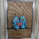 Kavics kép (szerelmes madarak) , Otthon & Lakás, Dekoráció, Kép & Falikép, Mindenmás, Decoupage, transzfer és szalvétatechnika, Egyedi kézzel készült kavics kép. A kép kerete fa, a madarak akril festékkel festett kavics, melyek..., Meska
