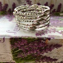 Ezüst-lila öt soros memória karkötő, Ékszer, Karkötő, Csodaszép ezüst és lila színű öt soros memória karkötő. Elegáns viselet nőknek, ajándéknak is kitűnő..., Meska