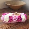 Daisy asztaldísz, Dekoráció, Otthon, lakberendezés, Esküvő, Asztaldísz, Virágkötés, Polifoam rózsákból és száraz termésekkel díszített egyedi asztaldísz Alapja:bádog tálca Mérete:2..., Meska