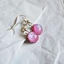 Pink üveg fülbevaló, Ékszer, óra, Fülbevaló, Kemencében, fusing technikával készült, pink üveg fülbevaló, gyönyörű, szivárványosan ir..., Meska