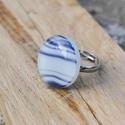 Blue stripes üveg gyűrű, Ékszer, óra, Ruha, divat, cipő, Gyűrű, Ékszerkészítés, Üvegművészet, Kék mintás üvegből készült, kemencében olvasztott gyűrű. Aprólékos munkával érte el kerek formáját...., Meska