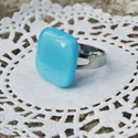 Türkizkék üveg gyűrű, Ékszer, óra, Ruha, divat, cipő, Gyűrű, Ékszerkészítés, Üvegművészet, Türkizkék üvegből készült a gyűrű. Fusing technikával, kemencében olvasztott ékszer.  Mérete: 2x2 c..., Meska