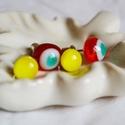 Cukorka fülbevaló csomag, Ékszer, óra, Ruha, divat, cipő, Fülbevaló, Ékszerkészítés, Üvegművészet, 2 pár fülbevaló alkotja a csomagot: egy pár egyszínű citromsárga és egy pár áttetsző narancs-fehér-..., Meska