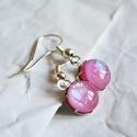 Pink üveg fülbevaló, Ékszer, Fülbevaló, Kemencében, fusing technikával készült, pink üveg fülbevaló, gyönyörű, szivárványosan ir..., Meska