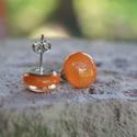 Narancs üveg fülbevaló, Ékszer, Ruha, divat, cipő, Fülbevaló, Telt narancssárga üvegből készült, kemencében olvasztott beszúrós fülbevaló.  Az üveg mé..., Meska