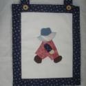 Textilkép, Dekoráció, Otthon, lakberendezés, Kép, Applikációval készült fiús - Overall Sam - textilkép Mérete: 31 x 37 cm (fülek nélkül) , Meska