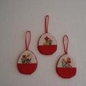 Húsvéti tojás , Dekoráció, Húsvéti díszek, Ünnepi dekoráció, Keresztszemes hímzéssel készült  tojások. A tojás 6 cm széles, 7 cm magas. A hátoldal piros filc.  A..., Meska