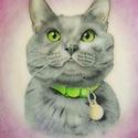 Pasztellportré macskáról, Művészet, Grafika & Illusztráció, Fotó, grafika, rajz, illusztráció, Saját készítésű 170x297 mm-es pasztellporté egy gyönyörű macskáról, melyhez postázás esetén jár ker..., Meska