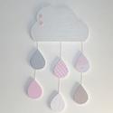 Felhő színes esőcseppekkel - fali dekoráció, Baba-mama-gyerek, Dekoráció, Gyerekszoba, Dísz, Ez az aranyos kis felhő az esőcseppekkel bármelyik kislányszoba szépséges díszévé válhat. A felhőt é..., Meska