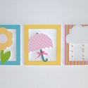 Esernyő virággal és felhőcskével - 3 db-os faldekoráció, Baba-mama-gyerek, Gyerekszoba, Baba falikép, A faldekoráció minden darabját 10 mm-es mdf-lemezből vágtam ki, kétszer van festve és matt lakkal zá..., Meska