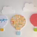 Hőlégballonok felhőkkel - 5 db-os fali dekoráció, Baba-mama-gyerek, Dekoráció, Gyerekszoba, Dísz, Ezt a hőlégballonos fali dekorációt 10 mm-es mdf lapból vágtam ki, minden egyes darabja kétszer van ..., Meska