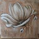 Festmény - Virág 03., Dekoráció, Képzőművészet, Festmény, Akril, Feszített vászonra festett, virágot ábrázoló akril kép. Mérete: 30 x 30 cm., Meska