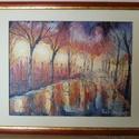 Festmény - Esti park, Képzőművészet, Festmény, Olajfestmény, Festészet, Esti parkot ábrázoló olajkép. A kép megalkotásánál festőkésekkel dolgoztam, alapozott vászonra fest..., Meska