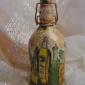 Oliva, csatos díszüveg, Dekoráció, Otthon, lakberendezés, Konyhafelszerelés, Dísz, Újrahasznosított, kézi festésű üveg, dekupázs technikával kiegészítve. Mediterrán, vagy v..., Meska