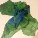 Selyemkendő, Ruha, divat, cipő, Kézzel festett gyönyörű fényű selyemkendő. 90*90 cm. , Meska