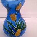Kék váza aranyló tulipánokkal, Dekoráció, Otthon, lakberendezés, Dísz, Kaspó, virágtartó, váza, korsó, cserép, Kék váza aranyló tulipánokkal,egy dekoratív kék üveg váza, amely üde színével tavaszi han..., Meska