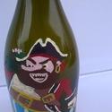 Kalózos üveg, Férfiaknak, Sör, bor, pálinka, Kalózos üveg egy vagány,vidám üveg amelyet ha megtöltünk finom itallal, akkor garantált a jókedv.Akr..., Meska
