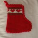 Karácsonyi ajándék csizma, Dekoráció, Karácsonyi, adventi apróságok, Karácsonyi dekoráció, Ajándékzsák, Ebbe a felakasztható csizmácskába jó sok ajándék belefér, mert 27 cm magas, a szára 17 cm alul 22cm...., Meska