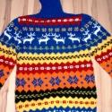 Végig mintás norvég pulóver  garbónyakkal, Ruha, divat, cipő, Férfiaknak, Női ruha, Férfi ruha, Kötés, Készítettem 1 poncsót, ahol nagyon sok megkezdett fonal maradt. Kipótoltam az alapszínnel, és így k..., Meska