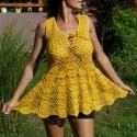 Könnyed sárga tunika, Ruha, divat, cipő, Női ruha, Ruha, 100% Catania pamutból horgoltam ezt a szép tunikát. Különlegessége elöl megkötős része, am..., Meska