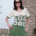 """Tavaszi hangulatú ruha, Ruha, divat, cipő, Női ruha, Ruha, Nagyon szeretem a """"nagymama négyzetes """"mintát, ez, és a tavasz adta a hangulatomat elkészíteni ezt a..., Meska"""