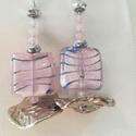 Rózsakvarc- Mintás üveg gyöngy fülbevaló, Ékszer, Fülbevaló, Különleges üveg gyöngy- rózsakvarc fűlbevaló., Meska