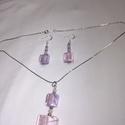 Üveg ékszer szett., Ékszer, Fülbevaló, Rózsaszin üveg,és rózsakvarc fűlbevaló,és nyaklánc. Különleges üveg gyöngy szett. Gyöny..., Meska