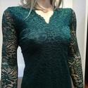 Csipke ruha sötétzöld, Ruha, divat, cipő, Női ruha, Ruha, Sötétzöld csipkeruha. Gyönyörű rugalmas csipke. Kellemes lágy anyagból. Enyhén karcsusítot..., Meska
