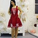 Menyecske ruha,Estélyi ruha,Koktél ruha, Ruha, divat, cipő, Esküvői ruha, Női ruha, Estélyi ruha, Gyönyörű piros zsinóros menyecske ruha. Alapanyag rugalmas taft  Alja tűllel díszítve., Meska