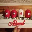 Adventi asztaldísz, Dekoráció, Karácsonyi, adventi apróságok, Otthon, lakberendezés, Ünnepi dekoráció, Karácsonyi dekoráció, Asztaldísz, Virágkötés, Mindenmás, 35 cm hosszú 10 cm magas fadoboz alapba négy nagy gyertyát tettem és piros-ezüst apróságokkal, szal..., Meska