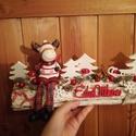 Téli, karácsonyi asztaldísz, Dekoráció, Karácsonyi, adventi apróságok, Otthon, lakberendezés, Ünnepi dekoráció, Karácsonyi dekoráció, Asztaldísz, Virágkötés, Mindenmás, 30 cm hosszú hasáb alapra vidám figurát(ez eltérő lehet) ragasztottam és apró téli dekorációs kiegé..., Meska