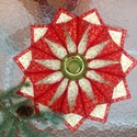 Karácsonyi textíl koszorú, gyertyatartó, Dekoráció, Ünnepi dekoráció, Karácsonyi, adventi apróságok, Koszorú, Aranymintás pamutvászonból készítettem ezt a gyertyatartó koszorút a karácsonyi asztalra. Á..., Meska