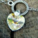 Swarovski ezüstözött bokalánc Heart Crystal Clear AB , Ékszer, Bokalánc, Ékszerkészítés, Fémmegmunkálás, Gyönyörű ragyogó Swarovski kristály  szív díszíti ezt a bokaláncot a méltán oly népszerű Crystal Cl..., Meska