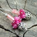Pink fürtös-bogyós  fülbevaló, Ékszer, Fülbevaló,  Turmalin, achát és jáde ásványok kombinációja ez a gyönyörű fülbevaló. Az ásványok 12..., Meska