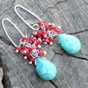 Türkiz- piros fürtös fülbevaló , Ékszer, Fülbevaló, Türkinit cseppekből és korall ásványgyöngyökből készült gyönyörű fülbevaló. A cseppek..., Meska