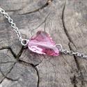 Swarovski ezüst bokalánc Wild Heart Rose, Ékszer, Bokalánc, Gyönyörű ragyogó Swarovski kristály  szív díszíti ezt a bokaláncot Rose színben. Hossza 26..., Meska