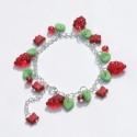 Akció!!! Piros bogyós gyümölcsök lepkével - karkötő, Ékszer, óra, Karkötő, Akció!!! 1600,- helyett 1200,-!!!  Málnaszemek, ribizliszemek, és pillangók díszítik a karköt..., Meska