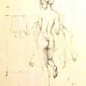 Teregető lány, Férfiaknak, Képzőművészet, Otthon, lakberendezés, Ékszer, óra, Fotó, grafika, rajz, illusztráció, Lotz Károly festménye alapján készült pointilista rajz. 25x30 cm, filccel készült. Paszpartuzva, ke..., Meska
