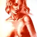 Múzsa+ajándék, Férfiaknak, Képzőművészet, Otthon, lakberendezés, Ékszer, óra, Fotó, grafika, rajz, illusztráció, 50x70cm-es pittkréta rajz, Ingres papíron, lefixálva. Félig tanulmány, félig fantázia. Hálószobába ..., Meska