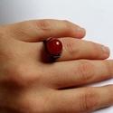 Izzó Karneol, Vörösrézből tekergetett fix méretű gyűrű, ...