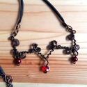 Tekergő, Ékszer, Esküvő, Ruha, divat, cipő, Nyaklánc, Különleges vörösréz nyaklánc, melyen szögletes mintát alakítottam ki, úgy hogy a szálakat egymásra t..., Meska