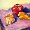 Gyümölcsök, Dekoráció, Esküvő, Képzőművészet, Otthon, lakberendezés, Gyümölcsöket ábrázoló olajkép farostlemezen, a színek harmóniája volt számomra fontos, de szeretem a..., Meska