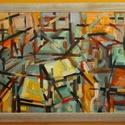 Műterem, Képzőművészet, Dekoráció, Otthon, lakberendezés, Festmény, Festészet, A műtermi rendetlenség érhető tetten ezen az olajképen konstruktivista felfogásban. Otthonos színek..., Meska