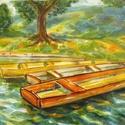 A Tiszán, Képzőművészet, Otthon, lakberendezés, Esküvő, Festmény, Festészet, Gyerekkori emlékek alapján készült kis akvarell, a nyár színeiben. Régen minden nyáron csónakáztunk..., Meska