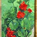 Szabad muskátli, Dekoráció, Képzőművészet, Otthon, lakberendezés, Festmény, Festészet, Muskátlit ábrázoló olajkép vászonra festve. A szabadban festettem, ahová kiültették a kis virágot. ..., Meska