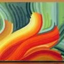 Kibontakozás, Dekoráció, Képzőművészet, Otthon, lakberendezés, Kép, Festészet, A kép formájában nyíló virágot idéz, színeivel a jó időt próbálom előcsalogatni. A vörös és zöld el..., Meska